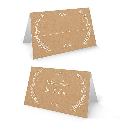 Logbuch-Verlag 25 Tischkarten Kraftpapier braun weiß SCHÖN DASS DU DA BIST Fisch Symbol - Platzkarten Tisch Taufe Kommunion Hochzeit Firmung