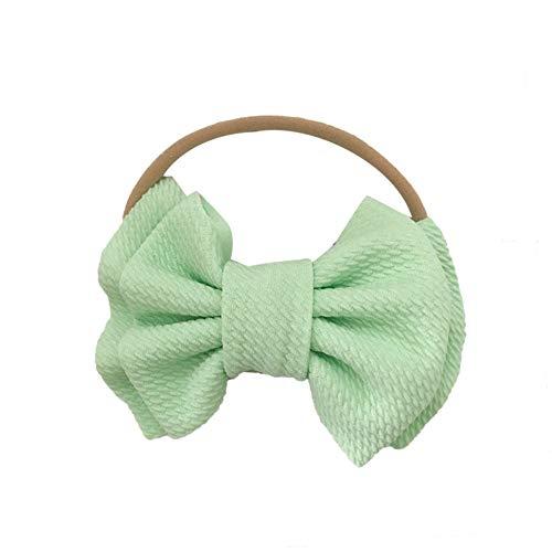 Leuke Baby Meisjes Hoofd Wraps Turban Effen Kleur Dubbele Laag Bow Knot Haarband - Zwart Mint Groen