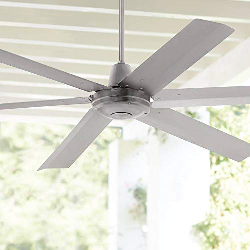 """60"""" Turbina Max DC Modern Industrial Rustic Outdoor Ceiling Fan with Remote Control Brushed Nickel Silver Metal 5 Blades Damp Rated for Patio Exterior House Porch Garage Barn - Casa Vieja"""