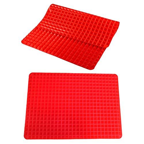 2 Stück Pyramide Silikon Backmatte, Wiederverwendbare Backunterlage mit 2 Größen, Antihaft Backmatten Hitzebeständige Kochmatte zum Grillen im Ofen Grillen
