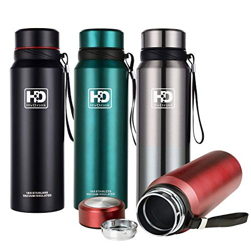 Water Bottle Insulated Stainless Steel Wide Mouth Vacuum Thermos, Built-in Filter, with Leak Proof Cap and Strap, Idea For Drinking At Home, Office, Gym, Cycling, Traveling, Camping (Silver, 27oz)