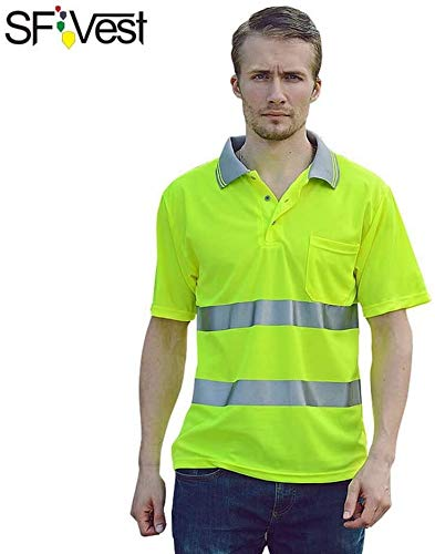 T-shirt Safety Vest Reflective shirt High Visible korte mouw Vest Pocket Zilver reflecterende banden Heren zweettransporterend Safety shirt Bedrijfskleding XMJ