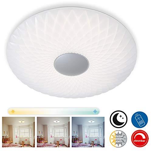 Preisvergleich Produktbild Briloner Leuchten LED Deckenleuchte,  Deckenlampe dimmbar,  Farbtemperatursteuerung,  Nachtlicht,  Fernbedienung,  inkl. Timerfunktion,  weiß,  Ø 51cm,  60 W