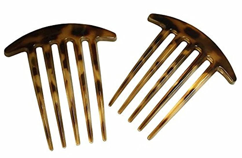 売上高グローブ恨みParcelona French Medium Interlocking 5 Teeth Celluloid Light Tortoise Shell Side Hair Comb Set [並行輸入品]