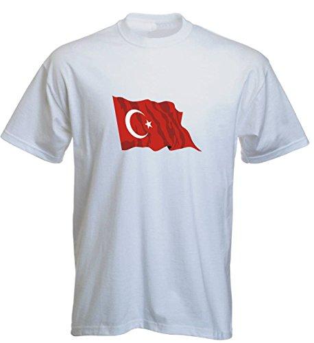 T-Shirt für Fußball LS182 Ländershirt XXL Mehrfarbig Turkey - Türkei mit Fahne/Flagge - Fanshirt - Fasching - Geschenk - Fasching - Sportshirt Weiss