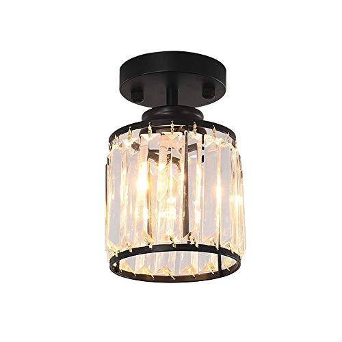 XZHU LED Crystal Ceiling Lamps, Mini Creative Black/Gold Iron Lighting Decorative Pendant Ceiling Light Nordic Living Room Bedroom Aisle Small Ceiling Lights (Color : Black)
