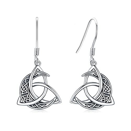 Celtic Knot Earrings 925 Sterling Silver Crescent Moon Drop Dangle Earrings Irish Earrings Celtic Moon Jewelry Gifts for Women Grils