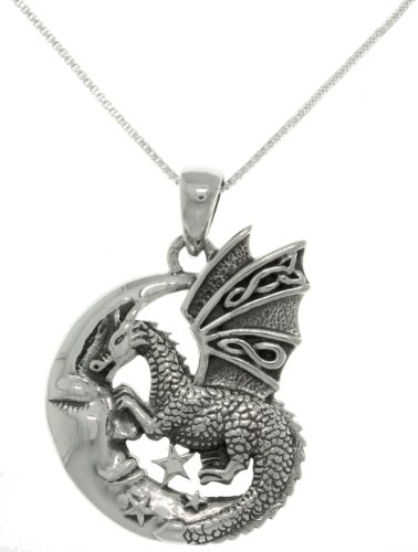 Jewelry Trends Sterling Silver Moon and Dragon Celtic Knot Pendant Necklace 18'