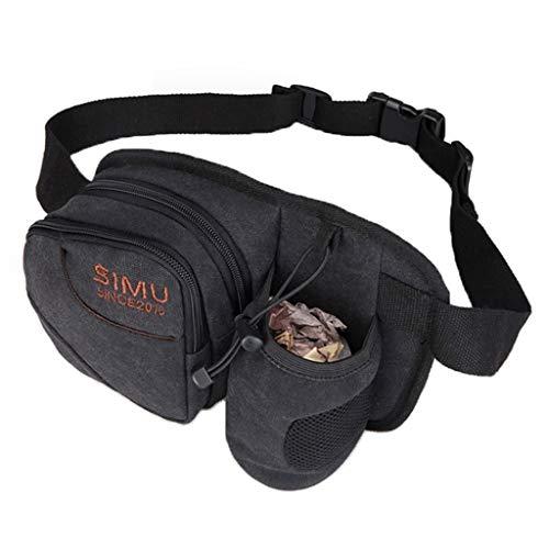 Beiläufigen Männer Tasche Laufen Sporttasche Handy-Tasche Leinwand-Gürteltasche Verschleißfeste Kettle Bag (Color : Black, Size : 26 * 8 * 19cm)