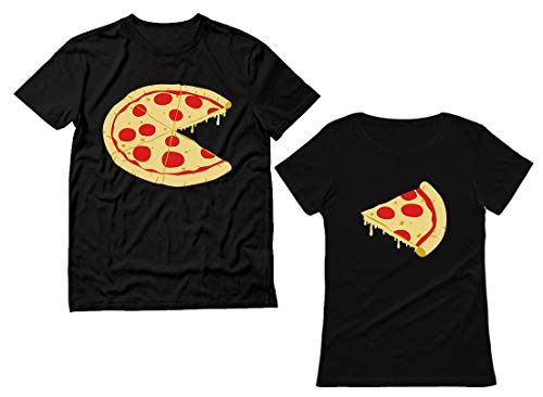 The Missing Piece Pizza & Slice - His and Her Shirts - Matching Couple T-Shirts Men Black Medium/Women Black Large
