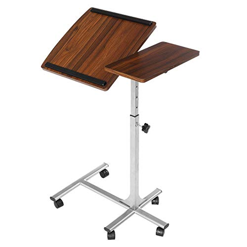 QFWM Escritorio para ordenador portátil, mesa con ruedas de altura ajustable con marco de acero MDF para oficina en casa, oficina y oficina (tamaño: pequeño; color: marrón)