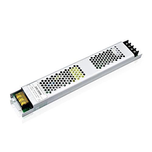 Luxvista - Trasformatore LED 200 W, alimentatore di rete 230 V a DC 24 V, ultra sottile, protezione da sovraversamento per strisce LED, lampadine in alluminio