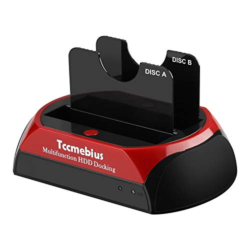 Tccmebius Docking Station per Disco Rigido, TCC-S868-DE USB 3.0 a 2.5 3.5 Pollici IDE SATA Doppie Slot Enclosure HDD Esterno, per 2.5