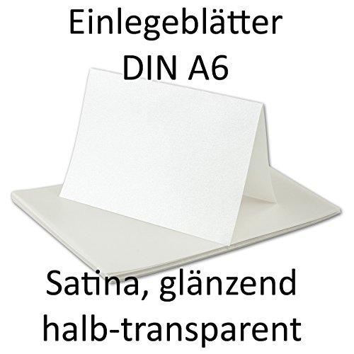 50 Stück - DIN A6 Satina Einlegeblätter für Faltkarten, transparent und glänzend, BEDRUCKBAR - NEUSER FarbenFroh