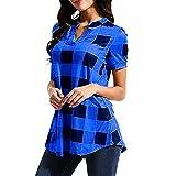 Shirt Mujer Top Mujer Elegante Elegante Moda A Cuadros con Cuello En V Manga Corta Verano Suelta Cómoda Clásica Mujer Camisa Mujer Blusa D-Blue M