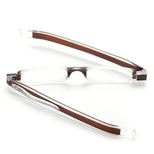 ZZAI Gafas de Lectura 360 ° Gancho Plegable Giratorio/de los Hombres y Las Mujeres presbicia de Las Mujeres Gafas de Lectura de HD Ligeras y cómodas (+ 1.0 + 1.5 + 2.0 + 2.5 + 3.0 + 3.5) Brown- + 2.