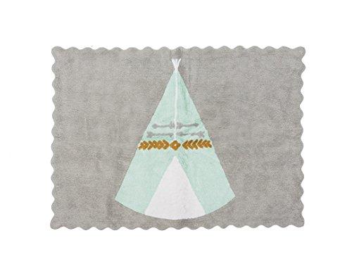 Aratextil. Alfombra Infantil 100% Algodón lavable en lavadora Colección Teepee Gris_Mint 120x160 cms