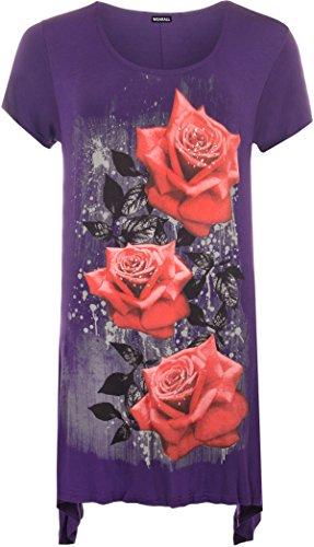 UW LOOK FASHION Nieuwe Womens Plus Size Ongelijke Hanky Hem T-shirt met korte mouwen Top Dames Bloemen Rose Print Jersey Tuniek (UK 22-24, Paars)