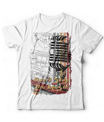 Generico T-Shirt Uomo Musica Dj Radio - Maglietta Microfono consolle DJ Set Don t Stop The Music - Vintage (Bianco, L)