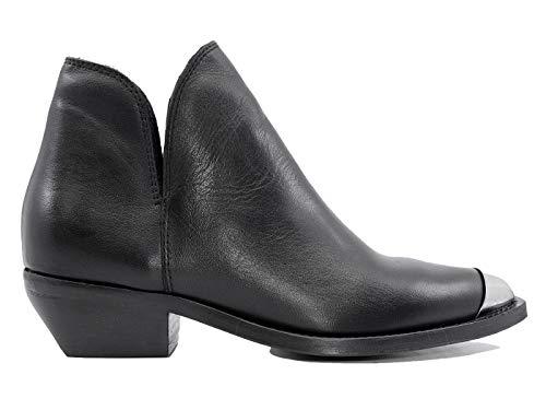 CURIOSITE' 1484P - Botas de Piel con Puntera para Mujer Negro Size: 37 EU
