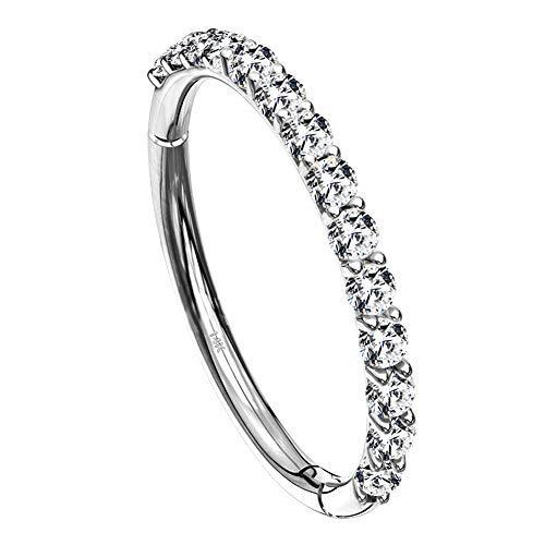 OUFER 14K Solid White Gold 16G Daith Piercings Cartilage Earrings Mini Cubic Zirconia Seamless Hoop Helix Tragus Ear Lobe Rings Clicker Piercings 1.2mm Jewellery