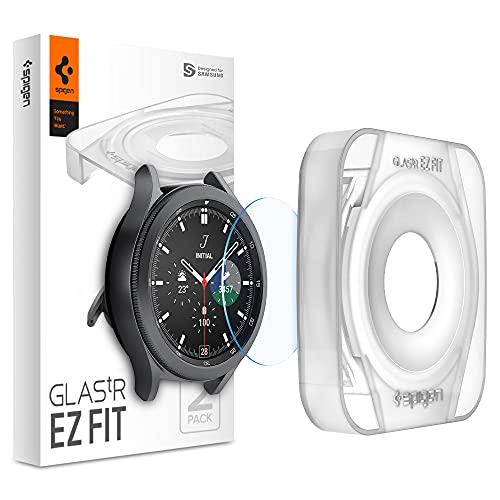 Spigen Glas.tR EZ Fit Schutzfolie kompatibel mit Samsung Galaxy Watch 4 Classic 46mm, 2 Stück, Kratzfest, 9H Härte Folie