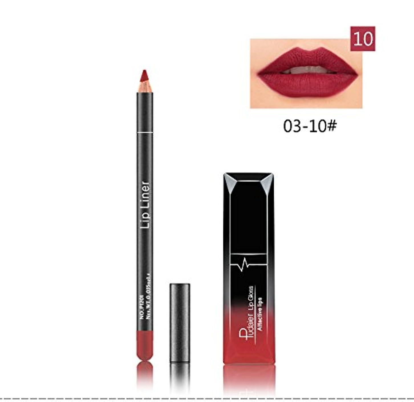 浸漬早める鉄(10) Pudaier 1pc Matte Liquid Lipstick Cosmetic Lip Kit+ 1 Pc Nude Lip Liner Pencil MakeUp Set Waterproof Long Lasting Lipstick Gfit