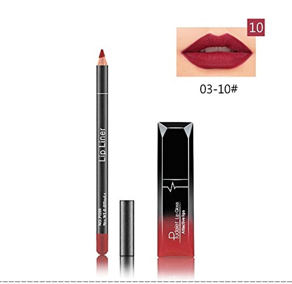 仕事チーター誠意(10) Pudaier 1pc Matte Liquid Lipstick Cosmetic Lip Kit+ 1 Pc Nude Lip Liner Pencil MakeUp Set Waterproof Long Lasting Lipstick Gfit