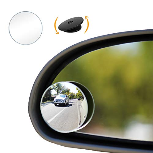 """""""Halo"""" Circle Blindspot Mirror by Safe View Company - Safer Lane Changes, Frameless HD Glass, Convex For Car Side Mirror, Easy Installation (2"""" Diameter) (2Pack)"""