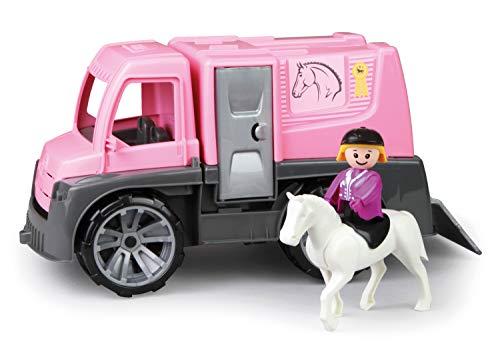 Lena 04458 TRUXX Pferdetransporter Spielfigur als Reiterin, Spielset Transporter für Pferde und Zubehör, Transportfahrzeug mit Türen zum Öffnen, Spielfahrzeug für Kinder ab 24m+, pink, Silber