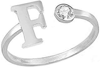 MANZHEN Personalized Crystal Silver Initial Letter Ring A-Z Stackable Ring