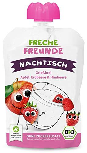 FRECHE FREUNDE Bio Quetschie Grießbrei Apfel, Erdbeere & Himbeere, Fruchtmus mit Grießbrei im Quetschbeutel für Kinder & Babys ab 1 Jahr, 600 g