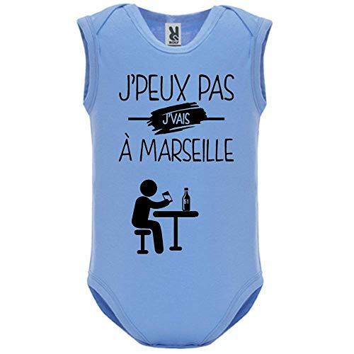 LookMyKase Body bébé - Manche sans - J Peux Pas j Vais a Marseille - Bébé Garçon - Bleu - 18MOIS
