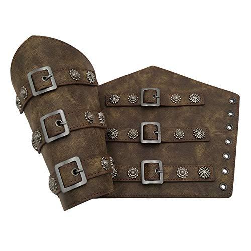 Brazalete de guantelete medieval vintage caballero brazalete, brazalete de brazo armadura punk gtico de piel sinttica para disfraz de vikingo para cosplay