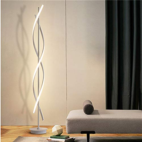 ELINKUME Dimmable Floor Lamp LED White Spiral Standing Lamp 30W Adjustble Light Modern Creative Unique Style Perfect for Indoor Decoration Lighting/Living Room Lamp