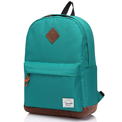 Vaschy Backpack for Men, Boys Classic Lightweight Water Resistant School Backpack Travel Rucksack Fits 15.6 Inches Laptop, Lake Green