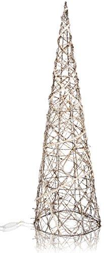 CHICCIE Deko Pyramide aus Weide mit Kristallen - 100cm - Beleuchtet Weihnachten