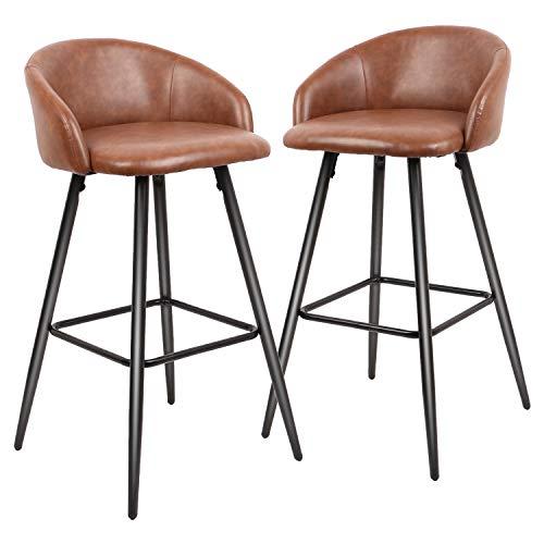 CASATOCA Set di 2 Sedie da Bar, Sgabelli da Bar, Seduta Fissa con Poggiapiedi, Sedia da Cucina, Superficie di PU, Design Vintage, Scuro Gambe in Metallo