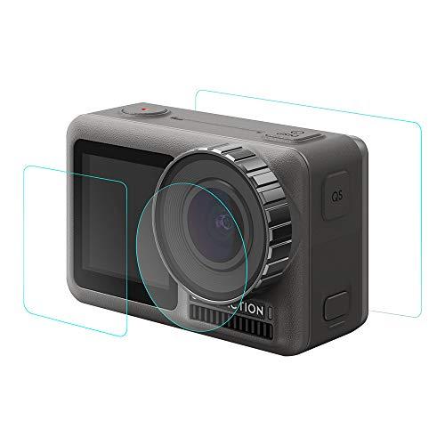 Deng Xuna 1 Set 9H Film temperato e Pellicola Protettiva per Lenti della Macchina Fotografica per DJI OSMO Action Camera (Pellicola di Vetro dello Schermo 2PC + Pellicola di Vetro dell obiettivo 1PC)