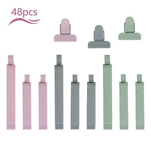 Matogle 48 Stücken Verschlussklammern Verschlussclips Klammern für Tüten luftdichte Lebensmittel clips Kunststoff Dichtungsclips für Snacks Haferflocken Popcorns in 3 Größen (Grün/Grau/Pink)