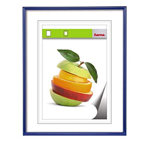 Hama Bilderrahmen Kunststoff DIN A4, mit Papier-Passepartout 15 x 20 cm, bruchsicheres Kunststoff Glas, zum Aufhängen, blau