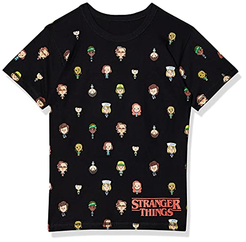 Camiseta Stranger Things balões, Piticas, Adulto E Infantil Unissex, Preto, P