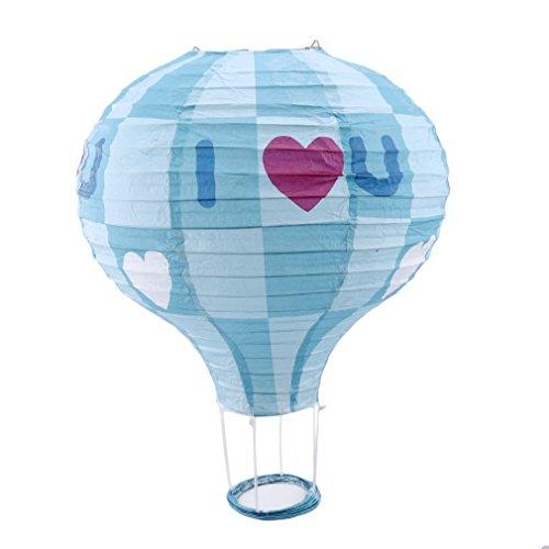 L_shop Rainbow Hängenden Heißluftballon Deckenleuchte Laterne Balloon für Hochzeit Festival Party Weihnachtsfest-Dekor Partyzubehör Kinderzimmer Deko,Papier,Blau Ich Liebe U