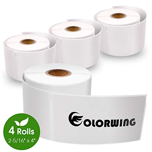 """COLORWING 2-5/16"""" x 4"""" Labels Compatible Dymo 30256 Shipping Labels 59mm x 102mm, White, 4 Roll - 300 Labels/Roll, for Dymo LabelWriter 450 and 400 Printer"""