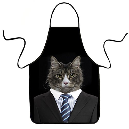 VIPbuy Delantal de cocina divertido con estampado de gato en 3D, impermeable, con correa ajustable para el cuello, para mujeres, hombres, cocina, barbacoa, fiesta de hornear (sin bolsillo)