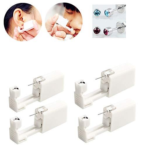 Set di 4 piercing per orecchio usa e getta, con perno per orecchio, senza dolore, per ragazze, donne e uomini, colore: blu chiaro