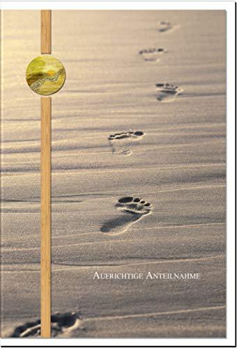Beileidskarte DEIN WEG | Fußspuren im Sand | metALUm #00114