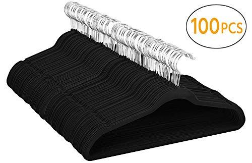Yaheetech 100 Stück samt Kleiderbügel anti-Rutsch Anzugbügel mit rutschfeste Oberfläche Garderobenbügel Schwarz
