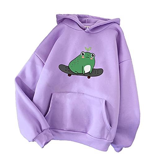 Aniywn Frog Hoodie Sweatshirt for Women Teen Girls Cute Skateboarding Frog Long Sleeve Hoodie Pullover Tops Blouse Purple