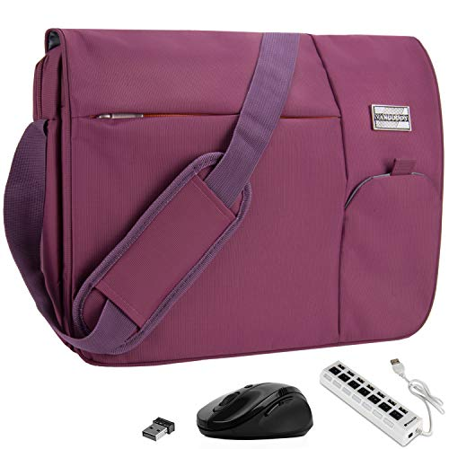 VanGoddy Orchid Purple Executive Anti-Theft Laptop Messenger Bag w/ Wireless Mouse and USB HUB for MSI CX Series / WS GT WT Series / Gaming Series / Prestige Series / 11' to 15inch